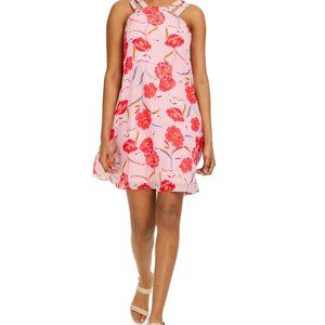 Bar III Printed Trapeze Dress, Pink/Red